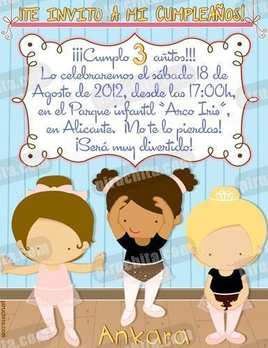 Invitación cumpleaños Ballet #04-0