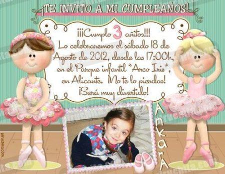 Invitación cumpleaños Ballet #08-0