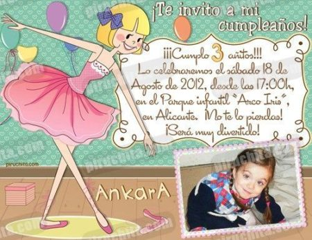 Invitación cumpleaños Ballet #09-0