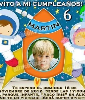 Invitación cumpleaños Espacio y astronautas #02-0