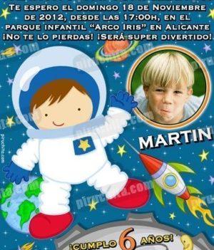 Invitación cumpleaños Espacio y astronautas #03-0