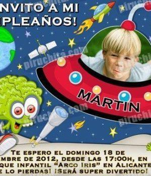 Invitación cumpleaños Espacio y astronautas #05-0