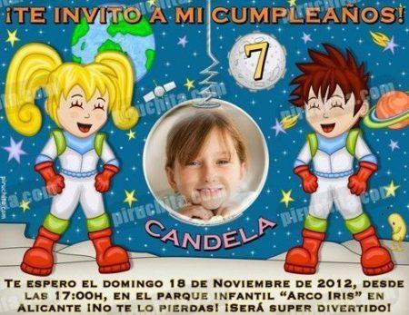 Invitación cumpleaños Espacio y astronautas #06-0