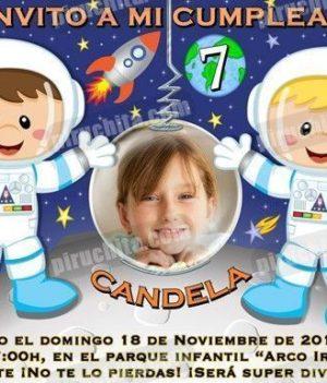 Invitación cumpleaños Espacio y astronautas #08-0
