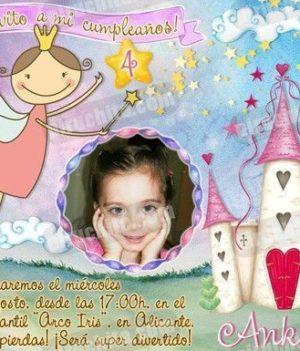 Invitación cumpleaños Hadas #03 con Foto | Digital Imprimible