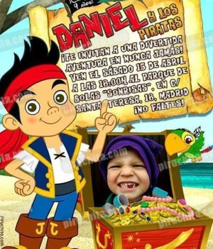 Invitación cumpleaños Jake y los piratas #02-0