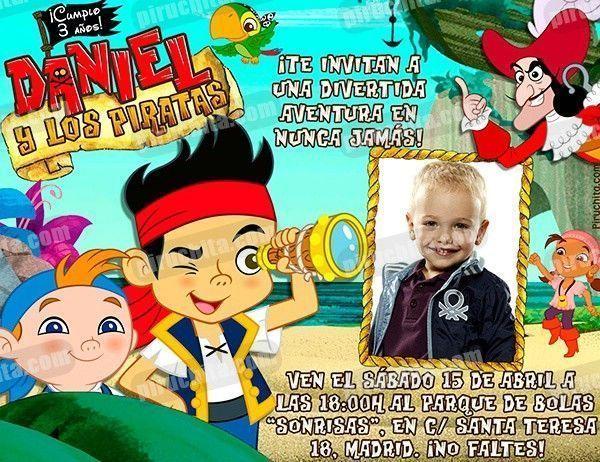 Invitación Cumpleaños Jake Y Los Piratas 03 Con Foto Digital Imprimible Piruchita