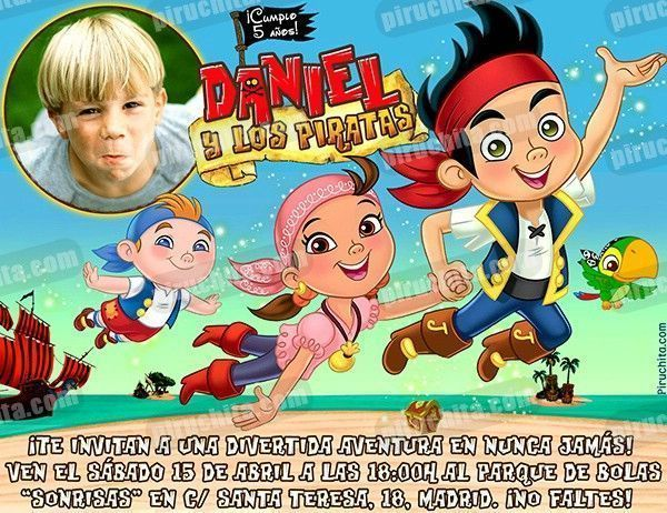Invitación Cumpleaños Jake Y Los Piratas 04 Con Foto Digital Imprimible Piruchita