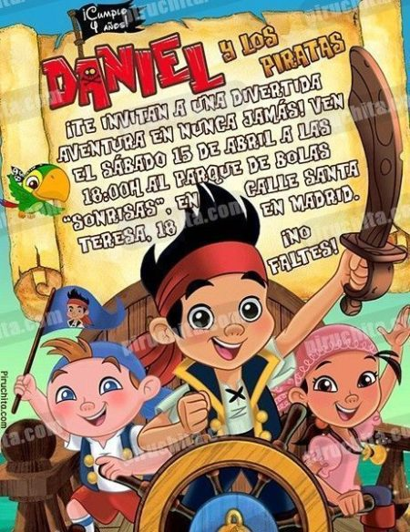 Invitación cumpleaños Jake y los piratas #06-0