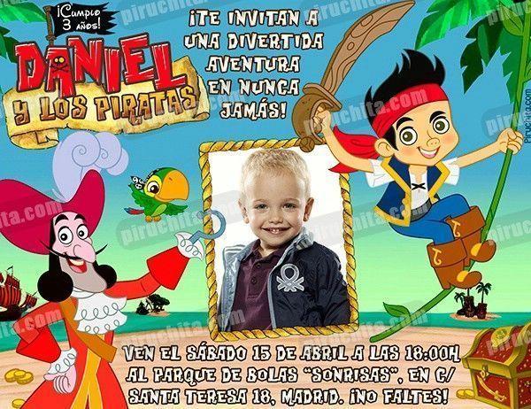 Invitación Cumpleaños Jake Y Los Piratas 07 Con Foto Digital Imprimible Piruchita