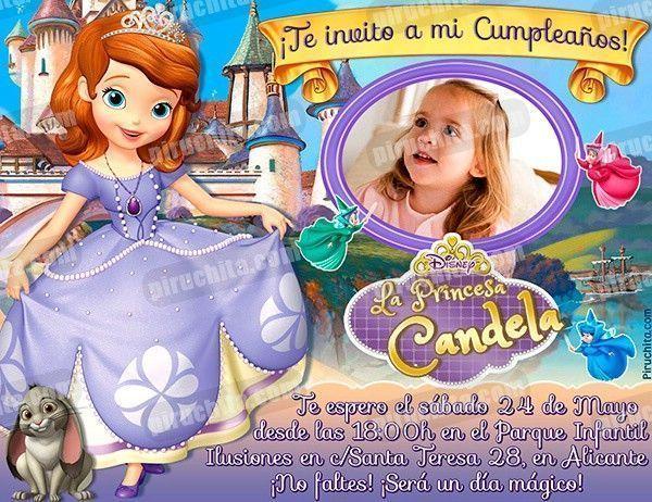 Invitación Cumpleaños La Princesa Sofía 02 Con Foto Digital Imprimible Piruchita