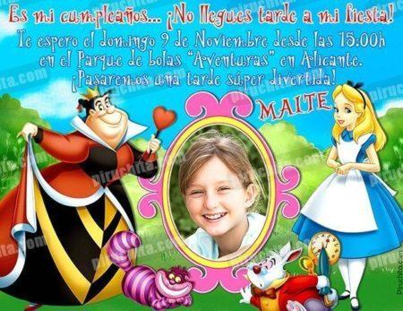 Invitación cumpleaños Alicia en el País de las Maravillas #03-0
