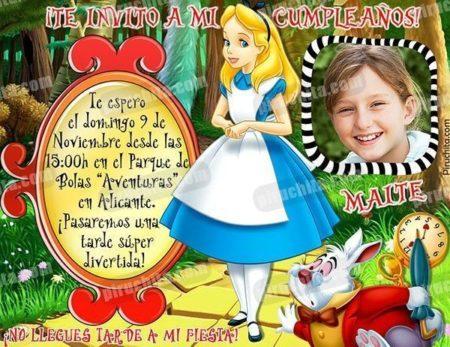 Invitación cumpleaños Alicia en el País de las Maravillas #07-0