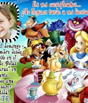 Invitación cumpleaños Alicia en el País de las Maravillas #09-0