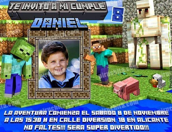 Invitación Cumpleaños Minecraft 02 Con Foto Digital Imprimible Piruchita