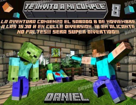 Invitación cumpleaños Minecraft #03-0