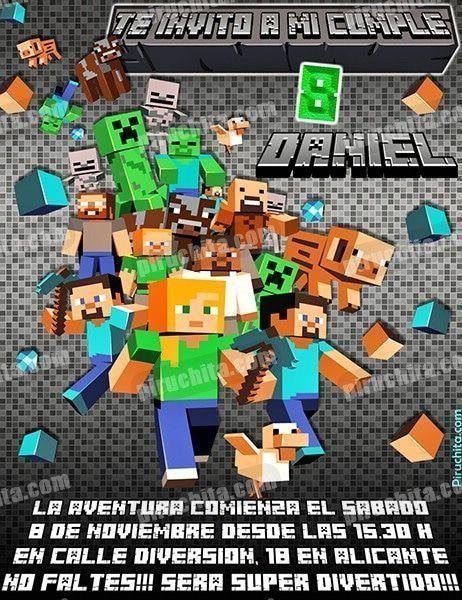 Invitación Cumpleaños Minecraft 04 Digital Imprimible Piruchita