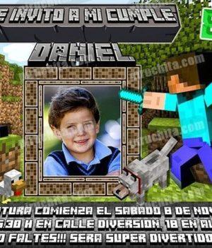 Invitación cumpleaños Minecraft #05-0