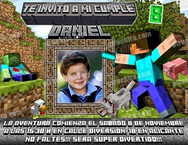 Invitación Cumpleaños Minecraft 05 Con Foto Digital Imprimible Piruchita