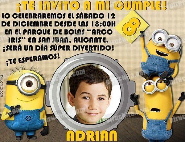 Invitación Cumpleaños Minions 01 Con Foto Digital Imprimible Piruchita