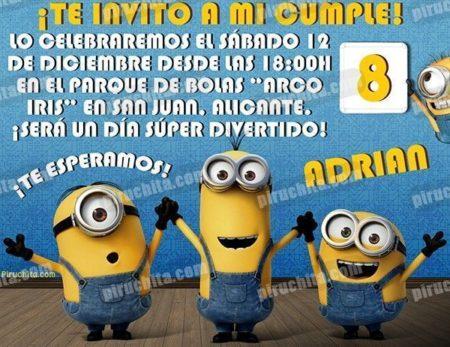 Invitación cumpleaños Minions #02-0
