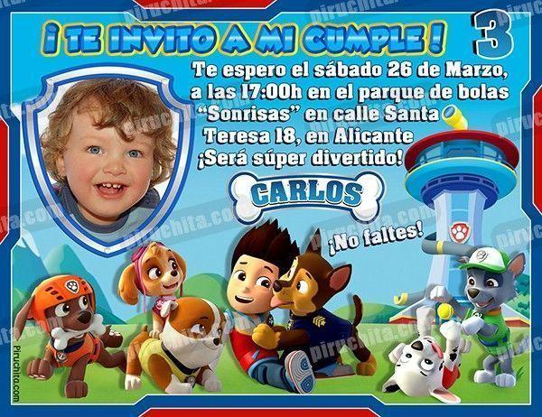 Invitación Cumpleaños La Patrulla Canina 02 Con Foto Digital Imprimible Piruchita