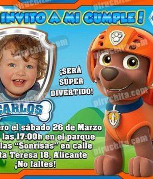 Invitación cumpleaños La Patrulla Canina #10-0