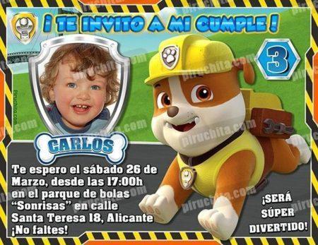 Invitación cumpleaños La Patrulla Canina-Rubble con Foto | Digital Imprimible