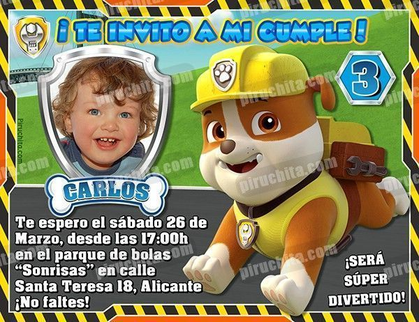 Invitación Cumpleaños La Patrulla Canina Rubble Con Foto Digital Imprimible Piruchita