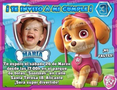 Invitación cumpleaños La Patrulla Canina-Skye con Foto | Digital Imprimible