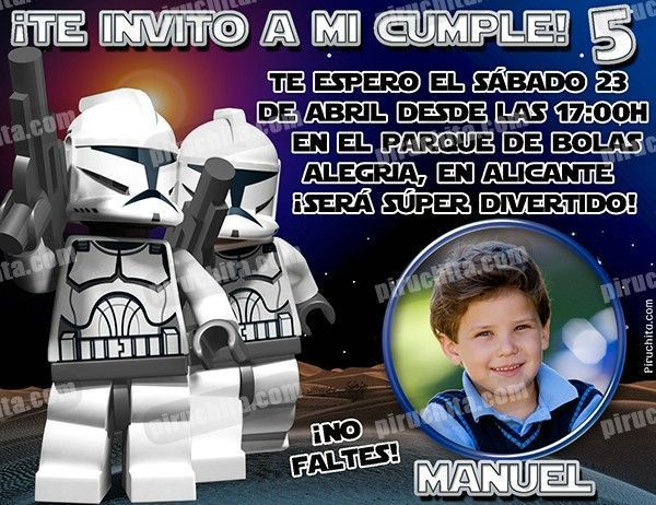 Invitación Cumpleaños Lego Star Wars 03 Con Foto Digital Imprimible Piruchita