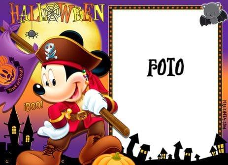 Marco para foto de Halloween con Mickey Mouse gratis