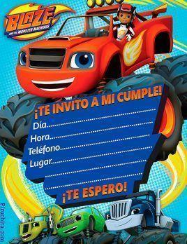 Invitación de cumpleaños Blaze y los monsters machines gratis
