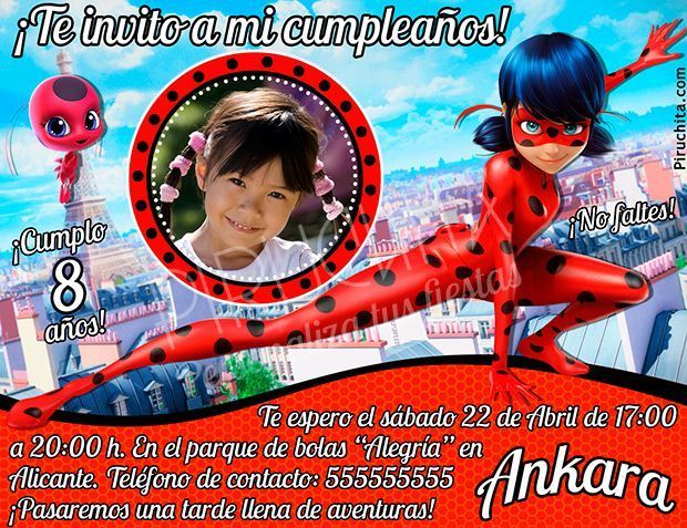 Invitación Cumpleaños Ladybug Prodigiosa 02 Con Foto Digital Imprimible Piruchita