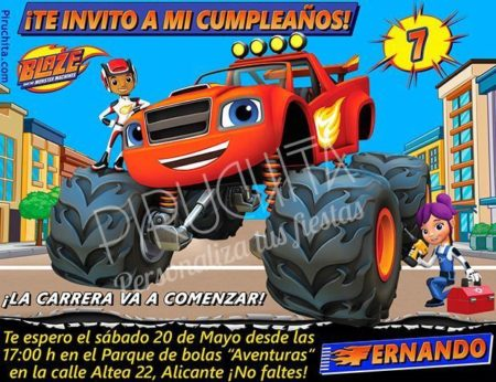 Invitación cumpleaños Blaze y los Monsters Machines #02 | Digital Imprimible