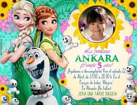 Invitación cumpleaños Frozen Spring Fever #01 con Foto | Digital Imprimible
