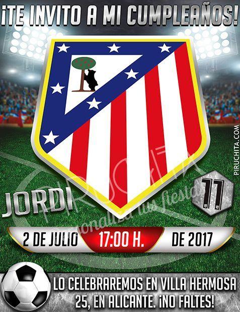 Invitación cumpleaños Fútbol - Atlético de Madrid | Digital Imprimible