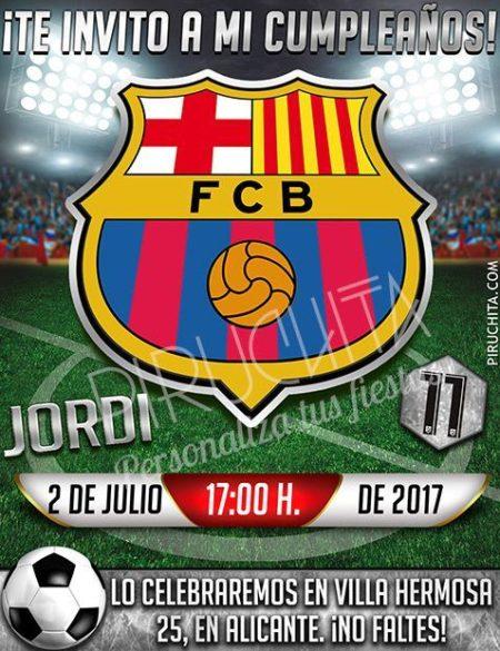 Invitación cumpleaños Fútbol - Barcelona | Digital Imprimible