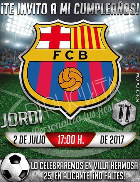 Invitación Cumpleaños Fútbol Barcelona Digital Imprimible Piruchita