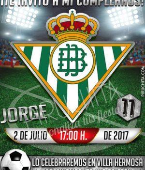 Invitación cumpleaños Fútbol - Betis | Digital Imprimible