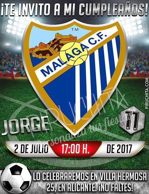 Invitación Cumpleaños Fútbol Málaga Digital Imprimible Piruchita