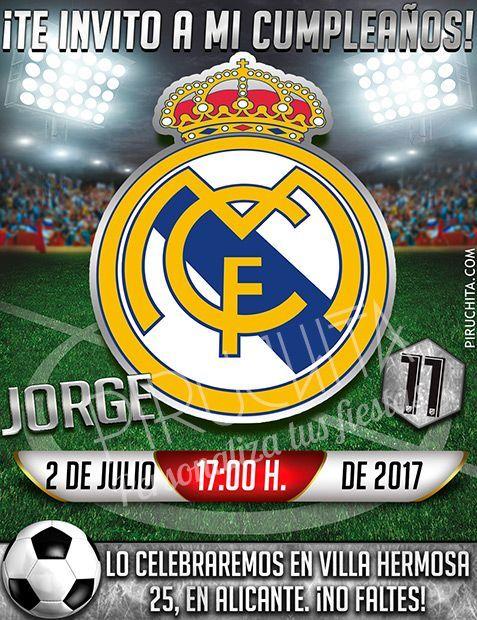 Invitación Cumpleaños Fútbol Real Madrid Digital Imprimible Piruchita