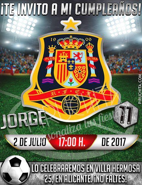 Invitación cumpleaños Fútbol - Selección Española | Digital Imprimible