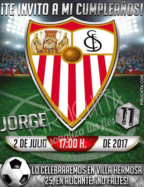 Invitación Cumpleaños Fútbol Sevilla Digital Imprimible Piruchita