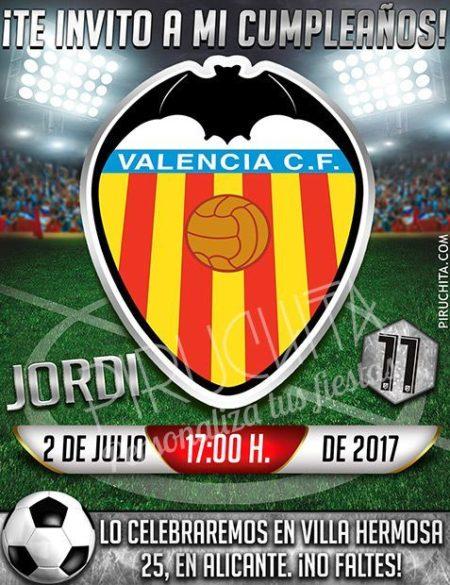 Invitación cumpleaños Fútbol - Valencia | Digital Imprimible