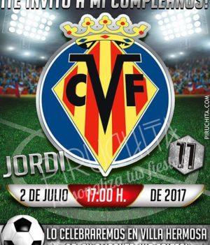 Invitación cumpleaños Fútbol - Villarreal | Digital Imprimible