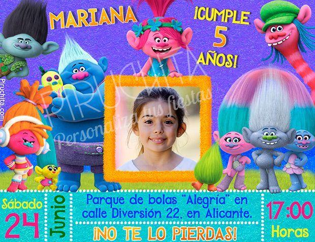 Invitación cumpleaños Trolls #01 con Foto | Digital Imprimible