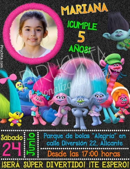 Invitación cumpleaños Trolls #02 con Foto | Digital Imprimible