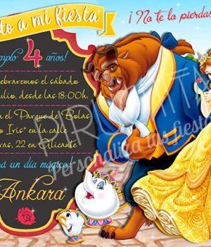 Invitación cumpleaños La Bella y la Bestia #01 | Digital Imprimible