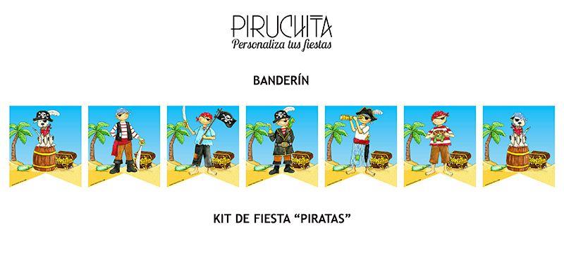 Decoración fiesta de cumpleaños Piratas para imprimir